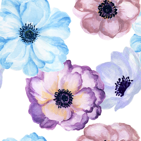 Watercolor gouache anemone floral and leaves hand drawn floral illustration seamless pattern background Elegant flower vintage style 版權商用圖片