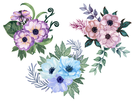 Watercolor gouache set of anemone floral and leaves  hand drawn floral illustration isolated on white background Elegant flower set in vintage watercolor style