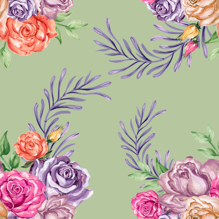 Watercolor gouache beautiful vintage romantic rose with leaves seamless pattern hand painted 写真素材