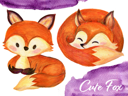 Set of watercolor red fluffy lovely baby foxes in motion on white Hand drawn illustration 版權商用圖片