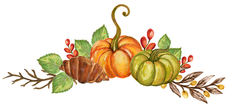 Pumpkins and colorful leaves Watercolor gouache Autumn Fall Hand Painted Arrangement on white background Stock Photo