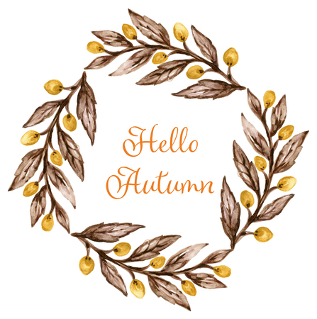 Watercolor gouache drawing colorful leaves branches set of autumn fall seasons arrangement wreath banner frame border hand painted Design for wedding invitations, greeting cards, card Stock Photo