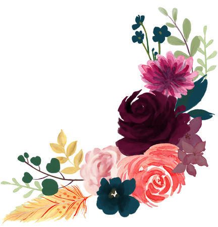 watercolor flora bohemian vintage rose peony abstract flower arrangement and leaf  with feather colorful flower illustration for wedding, anniversary, birthday, invitations, party hand paint