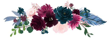 Watercolor vintage floral composition Pink and blue Floral Bouquet Flowers and Feathers Isolated 免版税图像