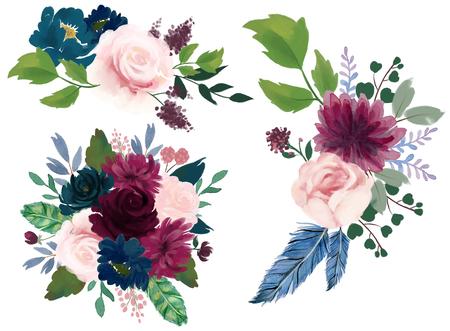 Aquarel vintage bloemensamenstelling Roze bordeaux en marineblauw Bloemenboeket Bloemen en veren geïsoleerd voor kaart bruidsfeest