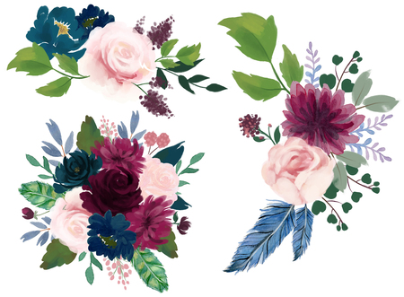 Watercolor vintage floral composition Pink burgundy and navy blue Floral Bouquet Flowers and Feathers Isolated for card bridal party Stok Fotoğraf