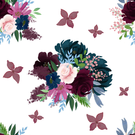 Seamless Indigo Navy deep blue pink burgundy marsala floral bouquet pattern for wallpaper or fabric or card Stock Photo
