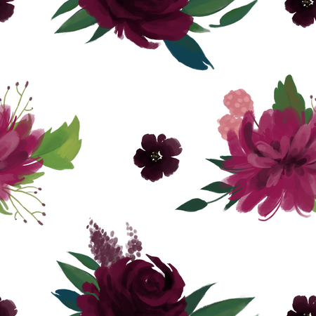 Seamless pattern with pink burgundy marsala flowers and leaves  floral pattern for wallpaper or fabric or card