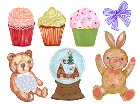 Watercolor set of cute cartoon watercolor Rabbit Bunny Teddy bear and Cute Pastel Cupcake with Ribbon on white Background Stockfoto