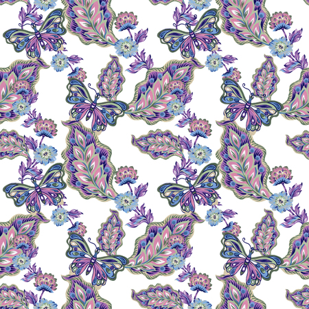 Seamless pattern with abstract fantasy flowers and leaves and butterfly Paisley or Damask jacobean style Watercolor Gouache hand paint