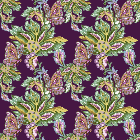 Seamless pattern with abstract fantasy flowers and leaves Paisley and Butterfly or Damask jacobean style Watercolor Gouache hand pain Stock Photo