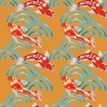 Hand drawn seamless background pattern inspired by chinese Korean and Japan kimono yukata background backdrop watercolor gouache