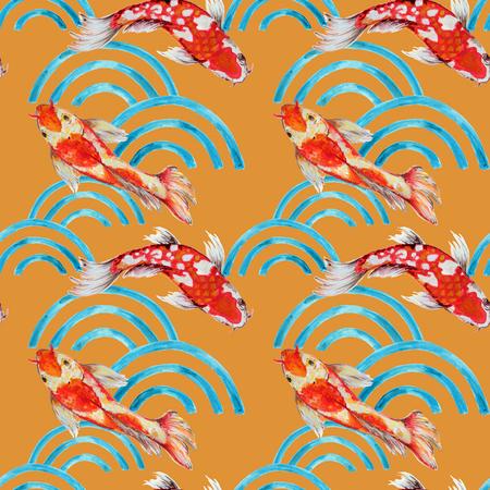 Motivo di sfondo senza cuciture disegnato a mano ispirato al kimono cinese coreano e giapponese yukata sfondo acquerello gouache Archivio Fotografico