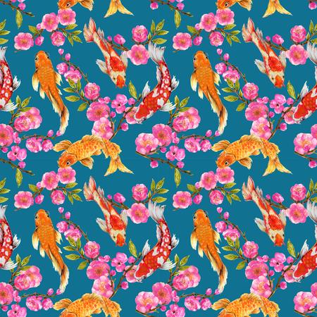 Hand drawn seamless background pattern inspired by chinese Korean and Japan kimono yukata background backdrop watercolor gouache