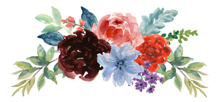 Watercolor boho vintage floral rose sunflower peony Gerbera and abstact flower or leaves composition Pink and navy and blue and marsala and yellow and coral and purple and magenta and garnet Floral Bouquet frame blossom and Feathers Isolated hand paint Stock Photo