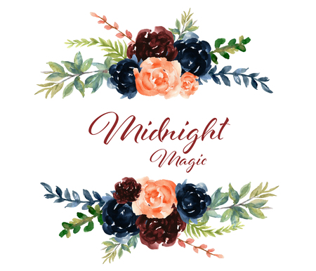 Watercolor flower peony rose and leaves marsala navy blue pink burgundy garnet color design for invitation card holiday party elegance wedding Stock Photo