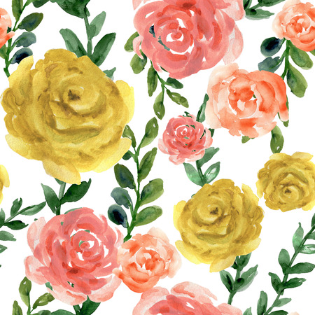 Watercolor flower peony rose and leaves pastel seamless pattern design for invitation holiday party elegance wedding hand paint Banco de Imagens