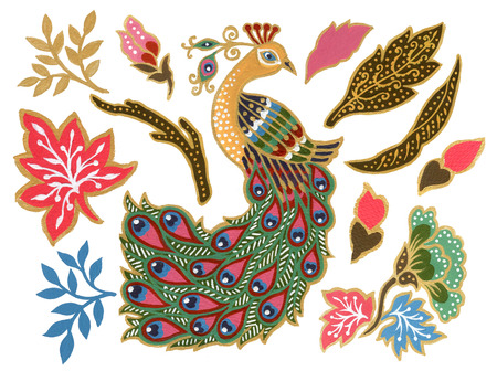 La belle de fleur paon oiseau art malaisien et indonésien Batik Sarong éléments aquarelle Gouache peint à la main