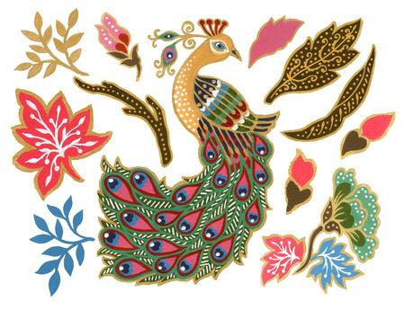 The beautiful of flower peacock bird art Malaysian and Indonesian Batik Sarong elements watercolor Gouache Hand Painted