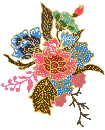 The beautiful of flower art gold and colorful Malaysian and Indonesian Batik Sarong bouquet watercolor Gouache Hand Painted