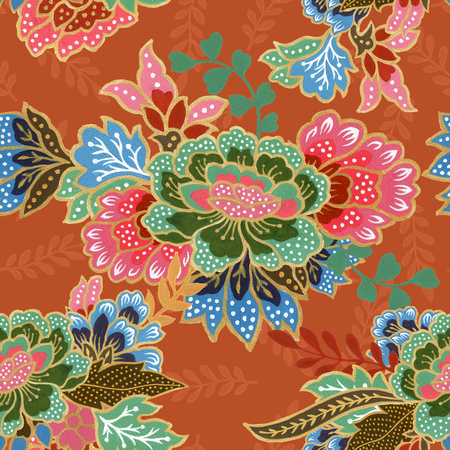 vintage seamless pattern gold outline with exotic traditional floral pattern watercolor gouache hand painting 写真素材