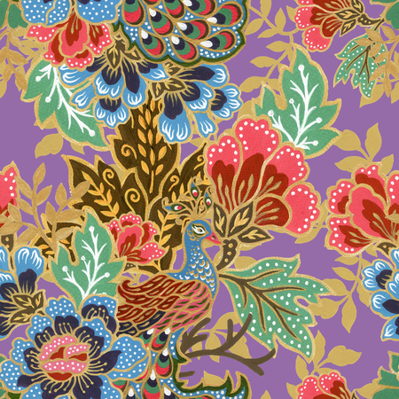 vintage seamless pattern gold outline with exotic traditional floral peacock bird pattern watercolor gouache hand painting