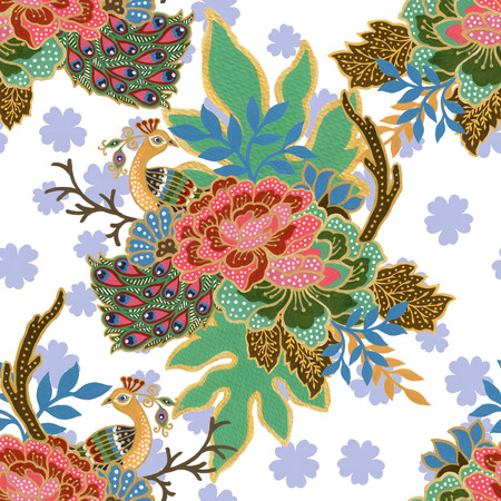vintage seamless pattern gold outline with exotic traditional floral peacock bird watercolor gouache hand painting