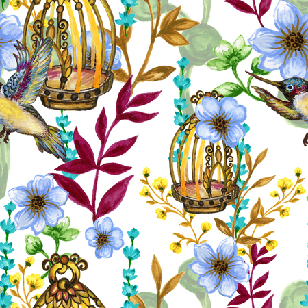 Romantic seamless pattern background with rose peonies daisy flowers birds and cages watercolor gouache illustration hand painted