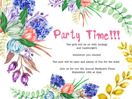 Watercolor flower Tulips garden flower and leaves design for invitation card holiday party elegance wedding hand paint on white Background