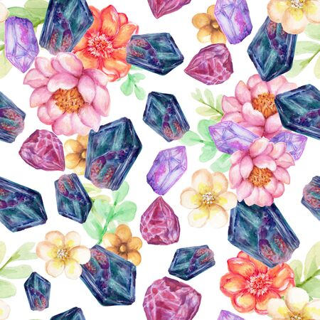Watercolor beautiful quartz crystal Gemstone Stone mineral with succulents blossom collection isolated on white background hand paint