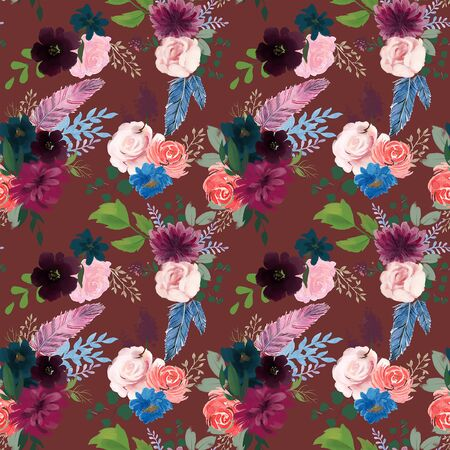 Seamless pattern with pink red burgundy marsala Navy Blue flowers and leaves floral  feathers pattern for wallpaper or fabric or card
