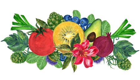 Watercolor hand paint elements eco food organic cafe menu design. natural fresh fruits and vegetable illustration