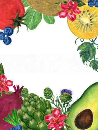 Watercolor hand paint elements eco food organic cafe menu design. natural fresh fruits and vegetable illustration on white background