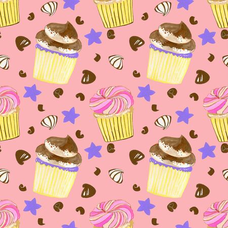 Little sweet delicious Buttercream cupcakes sprinkle and chocolate set watercolor gouache doodle art hand drawn seamless pattern set