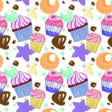 Kleine zoete heerlijke botercrème cupcakes strooi en chocolade set aquarel gouache doodle kunst handgetekende kleurrijk Stockfoto