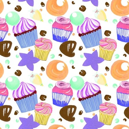 Little sweet delicious Buttercream cupcakes sprinkle and chocolate set watercolor gouache doodle art hand drawn colorful Stock fotó