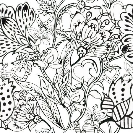 Black and White outline seamless pattern Floral background Flowers wallpaper  plants on white background Drawn decorative flowers pattern. Design for home decor, fabric, carpet, wrapping, card hand drawn