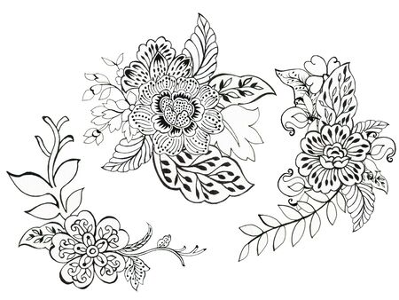 Hand drawn illustration henna tattoo elements and bouquet for your design textile, decorative paper, scrapbooking, backdrop