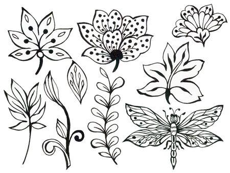 추상 손 그리기 꽃 나비 곤충과 파도, 낙서 꽃다발 페이즐리 동양 또는 아랍어, 흰색 배경에 러시아 예술 요소