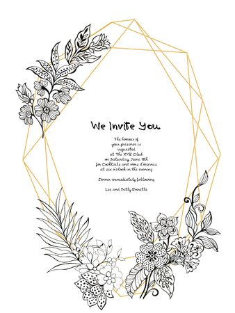 Outline flower bouquet garden  asian batik boho and leaves and feathers gold border frame card design for invitation holiday party elegance wedding by hand 写真素材
