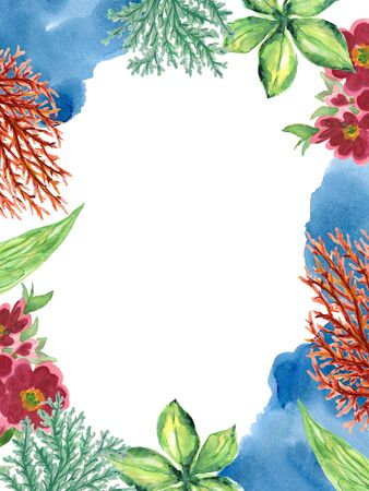 Watercolor Coral Plants Animal fish and leaves border frame card design for invitation holiday party elegance travel hand paint 写真素材