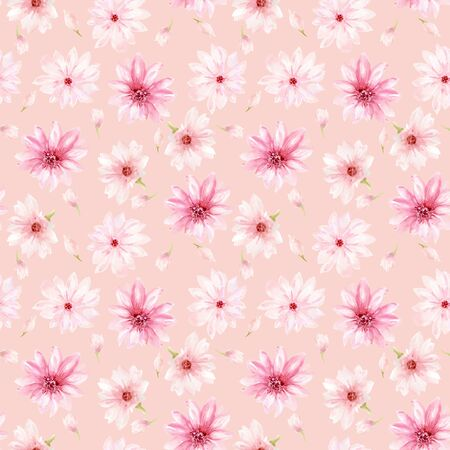 Watercolor illustration Little pink flowers cosmos blossom haand paint repeat background for fabric textile invitation card backdrop 写真素材