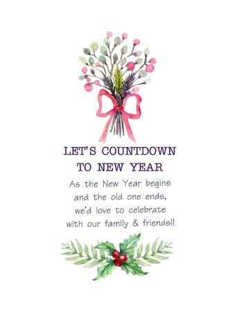Christmas plant foliage mistletoe rose watercolor colorful hand drawn for holiday party wreath bouquet  for invitation traditional flower and plants on white background