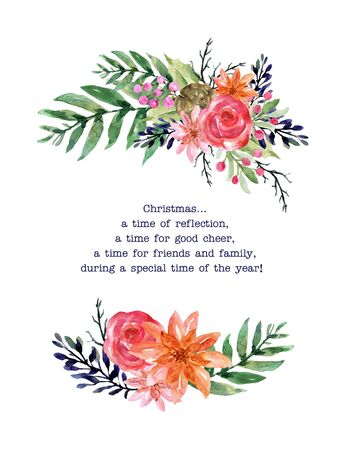 Christmas plant poinsettia watercolor colorful pink green red peach orange for holiday party wreath bouquet  for invitation traditional flower and plants on white background