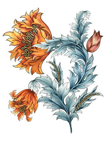 Set of decorative Tulip floral leaves Jacobean style bouquet elements on white Background hand paint 写真素材