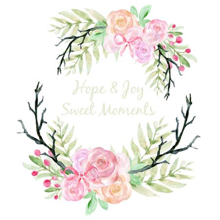 Watercolor Bridal illustration rose pastel pink Botanical leaves collection Set of ribbon garden and abstract lelements arrangements hand painted bouquet wreath pattern on white backdround