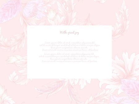 Fantasy Invitation card floral foliage leaf in jacobean embroidery damask style, vintage rustic retro style illustration hand paint Isolated on white background 写真素材