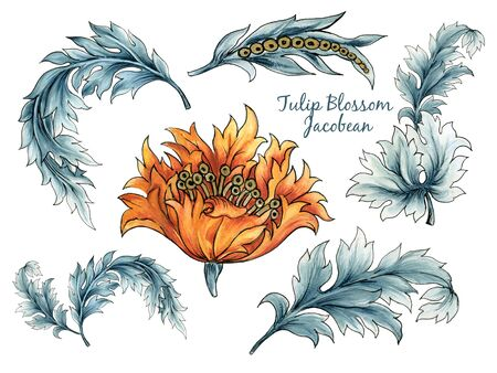 Vintage watercolor Jacobean Paisley  Damask Ethnic Tulips leaves floral elements for wallpaper, fabric, wrapping, card hand paint