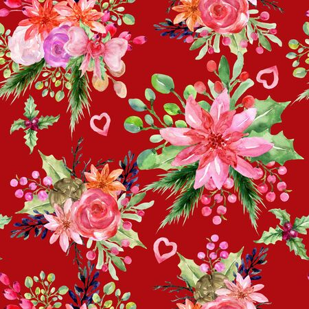 Watercolor vintage floral new year christmas sweet flower and leaves foliage set wallpaper for greeting card invitation party or fabric textile backdrop hand paint