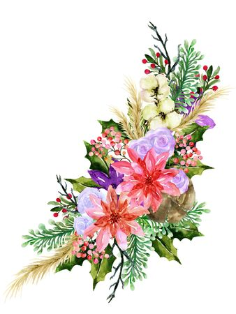Watercolor vintage floral poinsettia rose new year christmas sweet flower and leaves foliage set bouquet wreath for greeting card invitation party hand drawn 写真素材